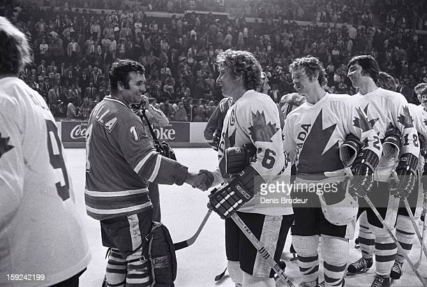 Vladimir Dzurilla and the rest of the Czechoslovakian team shake hands with Bobby Clarke Lanny McDonald Serge Savard and the rest Canadian team after...