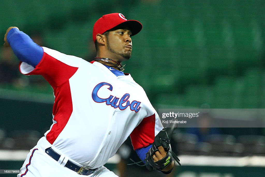Vladimir Garcia #34 of Cuba pitches during the World Baseball Classic First Round Group A game between Cuba and China at Fukuoka Yahoo! Japan Dome on March 4, 2013 in Fukuoka, Japan.