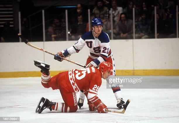 Vladimir Golikov of the USSR battles with Dave Christian of Team USA during an 1980 exhibition game on February 9 1980 at the Madison Square Garden...