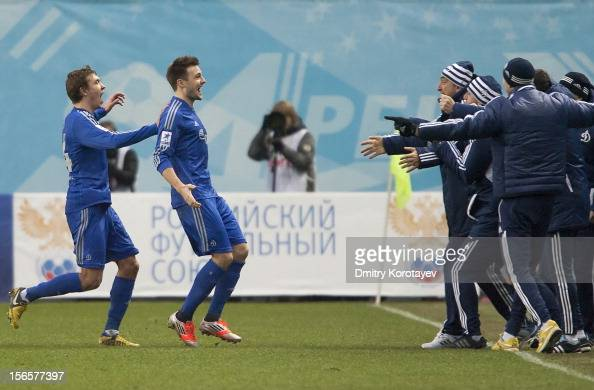 Vladimir Granat of FC Dynamo Moscow celebrates with teammates after scoring a goal during the Russian Premier League match between FC Dynamo Moscow...