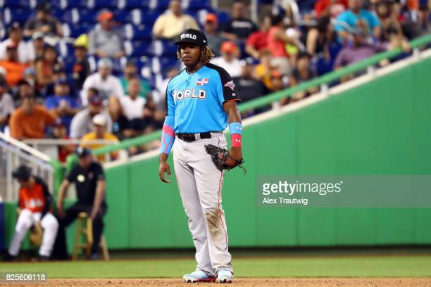 Vladimir Guerrero Jr #27 of the World Team plays defense at third base during the SirusXM AllStar Futures Game at Marlins Park on Sunday July 9 2017...
