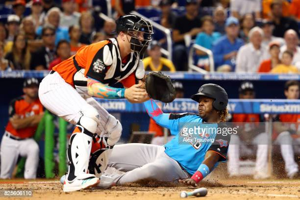 Vladimir Guerrero Jr #27 of the World Team scores a run during the SirusXM AllStar Futures Game at Marlins Park on Sunday July 9 2017 in Miami Florida