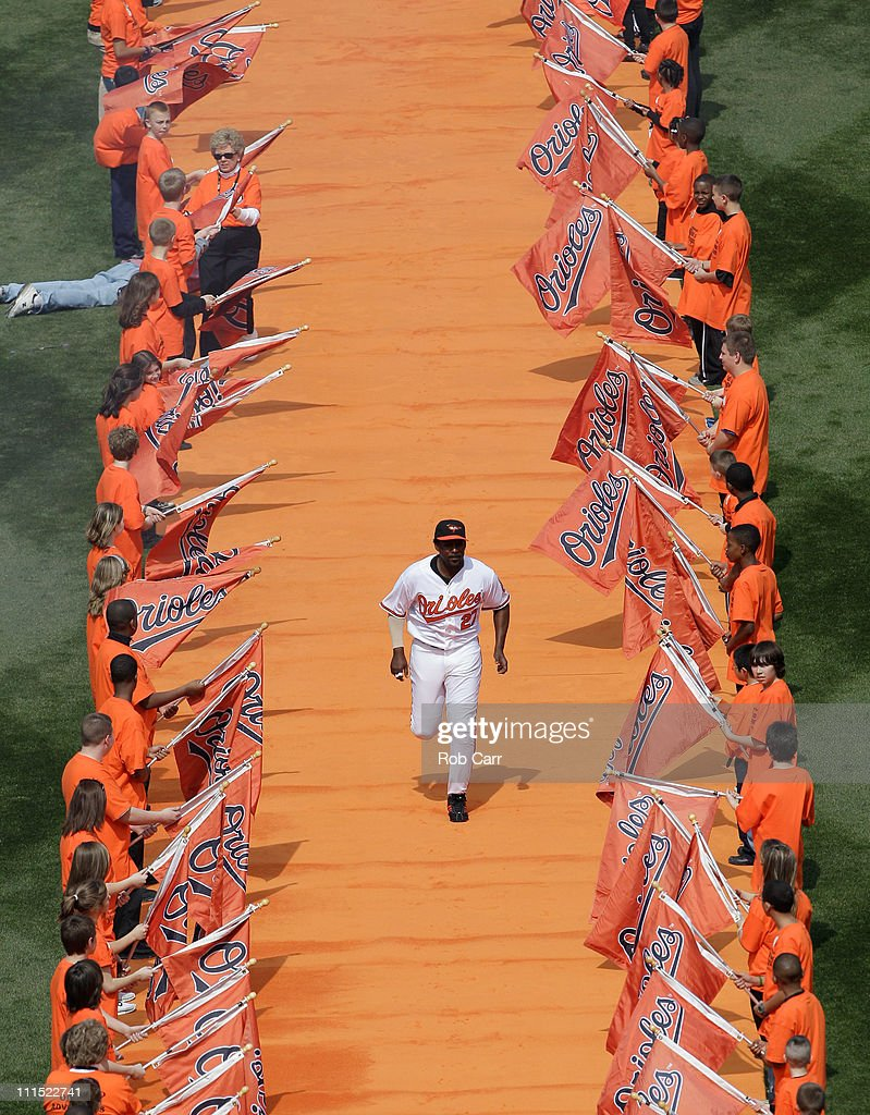 Vladimir Guerrero #27 of the Baltimore Orioles is introduced during opening day against the Detroit Tigers at Oriole Park at Camden Yards on April 4, 2011 in Baltimore, Maryland.