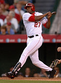 Vladimir Guerrero of the Los Angeles Angels of Anaheim bats during 43 victory over the Kansas City Royals at Angel Stadium in Anaheim Calif on Monday...