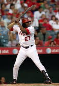 Vladimir Guerrero of the Los Angeles Angels of Anaheim bats during the game against the Seattle Mariners at Angel Stadium on August 12 2008 in...
