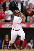 Vladimir Guerrero of the Los Angeles Angels of Anaheim grounds out to first base ending the 10th inning in Game Three of the ALCS against the New...