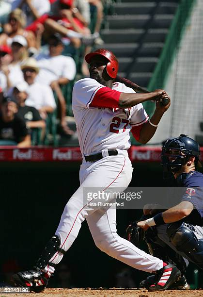 Vladimir Guerrero of the Los Angeles Angels of Anaheim hits against the Minnesota Twins during the MLB game on July 6 2005 at Angel Stadium in...