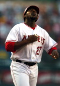 Vladimir Guerrero of the Los Angeles Angels of Anaheim looks skyward after hitting a tworun home run in the first inning of a 51 victory over the...