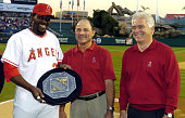 Vladimir Guerrero of the Los Angeles Angels of Anaheim receives the Kenesaw Mountain Landis Memorial Award as the 2004 American League Most Valuable...