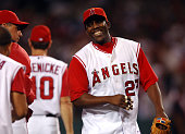Vladimir Guerrero of the Los Angeles Angels of Anaheim smiles after a 86 victory over the New York Yankees at Angel Stadium in Anaheim Calif on...