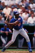 Vladimir Guerrero of the Montreal Expos bats against the Colorado Rockies at Coors Field on August 15 1999 in Denver Colorado