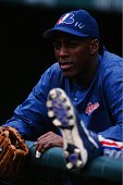 Vladimir Guerrero of the Montreal Expos stretches before a game against the Colorado Rockies at Coors Field on August 15 1999 in Denver Colorado