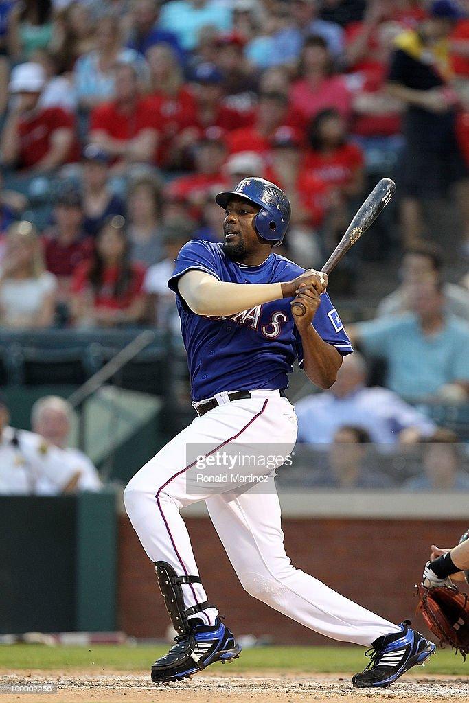 Vladimir Guerrero #27 of the Texas Rangers at bat against the Baltimore Orioles on May 19, 2010 at Rangers Ballpark in Arlington, Texas.