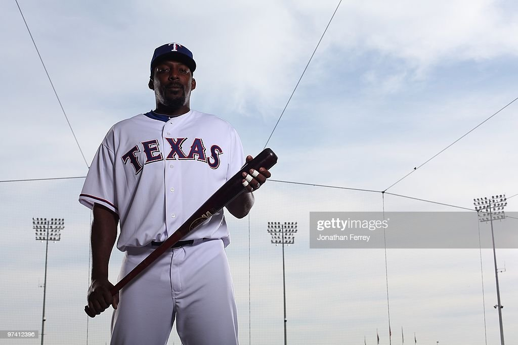 <a gi-track='captionPersonalityLinkClicked' href=/galleries/search?phrase=Vladimir+Guerrero&family=editorial&specificpeople=171986 ng-click='$event.stopPropagation()'>Vladimir Guerrero</a> #27 poses for a portrait during the Texas rangers Photo Day at Surprise on March 2, 2010 in Surprise, Arizona.