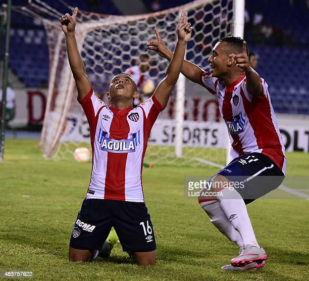 Vladimir Hernandez of Colombia´s Junior celebrate after scoring against Peru's Melgar during their 2015 Sudamericana Cup football match held at...