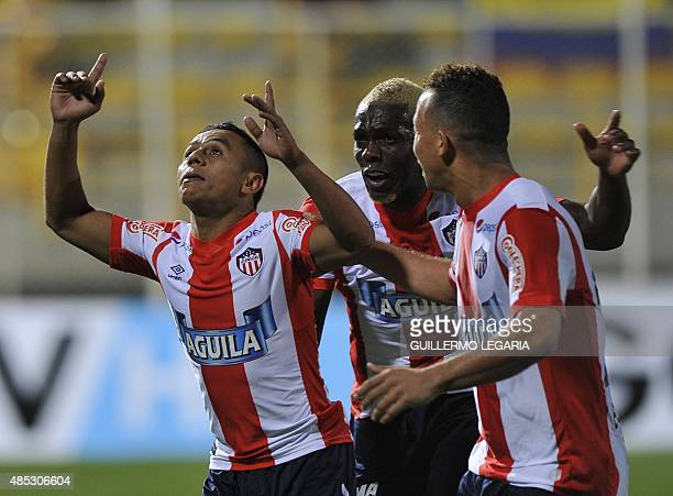 Vladimir Hernandez of Colombia's Junior celebrates with teammates after scoring against Colombia's Deportes Tolima during the 2015 Sudamericana Cup...