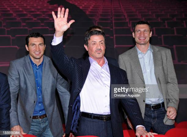 Vladimir Klitschko Sylvester Stallone and Vitali Klitschko attend the photocall for the musical 'Rocky' at stage entertainment headquarter on...