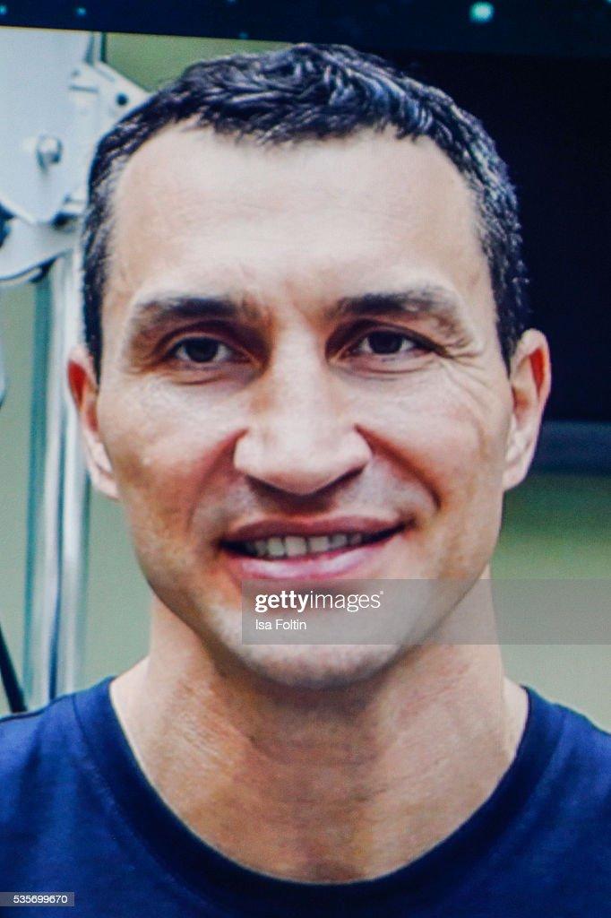 Vladimir Klitschko via video streem during the Green Tec Award at ICM Munich on May 29, 2016 in Munich, Germany.