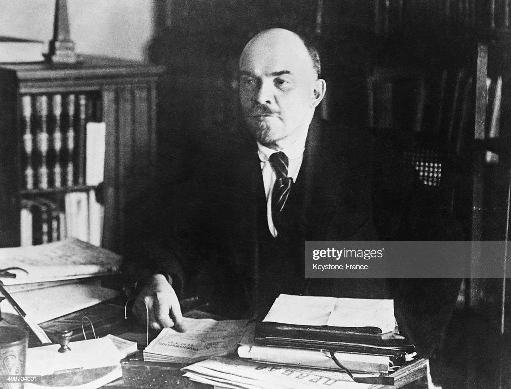 Vladimir Lenin at his desk, circa 1920 in Russia.
