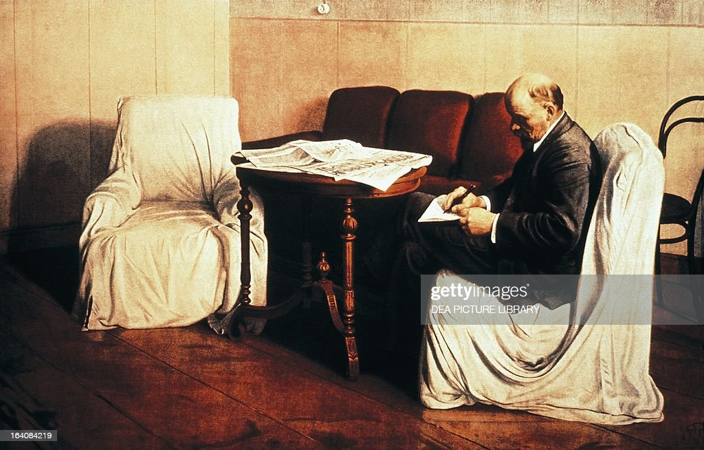 Vladimir Lenin at Smolny, born Vladimir Ilyich Ulyanov (Simbirsk, 1870-Gorki Leninskie, 1924), Chairman of the Council of People's Commissars of the Soviet Union and then Premier of the USSR. Painting by Isaak Brodsky (1884-1939), 1930, oil on canvas 190x287 cm. Mosca, Gosudarstvennaja Tretjakowskaja Galerja