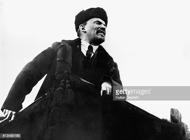 Vladimir Lenin makes a speech in Red Square on the first anniversary of the Bolshevik Revolution