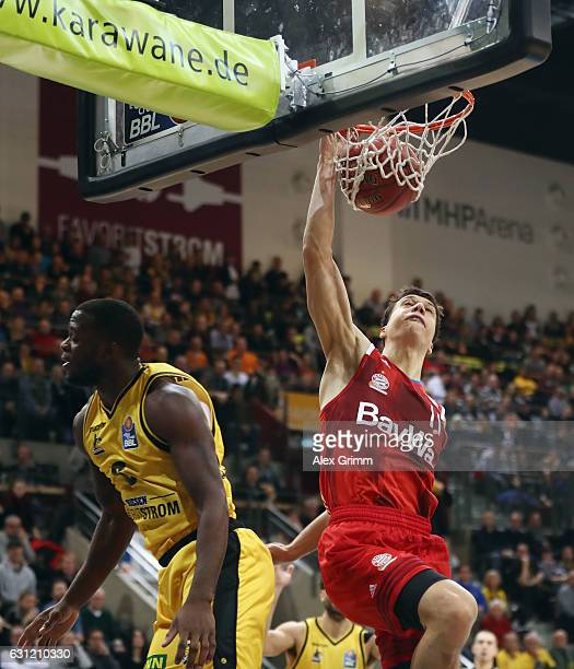 Vladimir Lucic of Muenchen makes a dunking during the easyCredit BBL match between MHP Riesen Ludwigsburg and FC Bayern Muenchen at MHP Arena on...