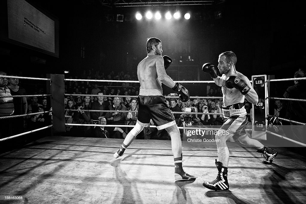 Vladimir Makarov and Daniel Lizarraga in the ring during the Chessboxing 2012 Season Finale at Scala on December 8, 2012 in London, England.