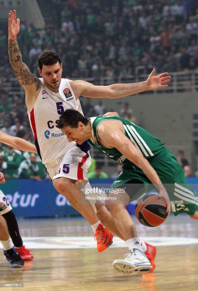 Vladimir Micov, #5 of CSKA Moscow competes with Dimitris Diamantidis, #13 of Panathinaikos Athens during the Turkish Airlines Euroleague Basketball Play Off Game 4 between Panathinaikos Athens v CSKA Moscow at Olimpic Sports Center on April 23, 2014 in Athens, Greece.