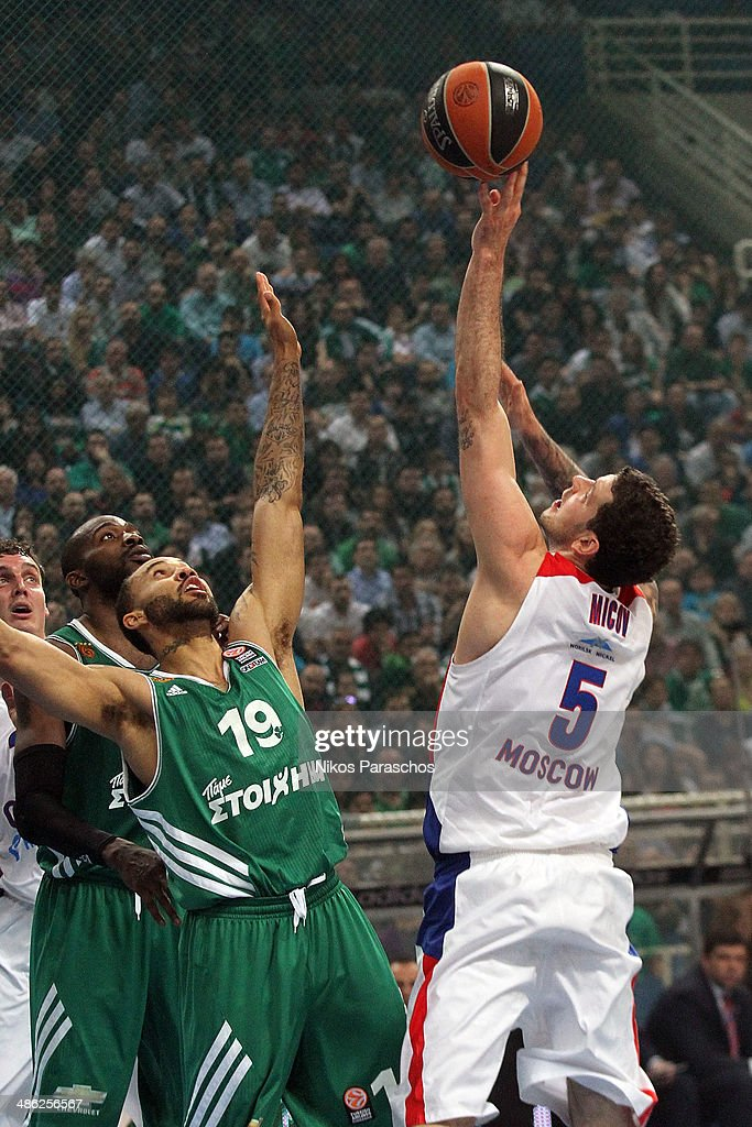 Vladimir Micov, #5 of CSKA Moscow competes with Zach Wright, #19 of Panathinaikos Athens during the Turkish Airlines Euroleague Basketball Play Off Game 4 between Panathinaikos Athens v CSKA Moscow at Olimpic Sports Center on April 23, 2014 in Athens, Greece.