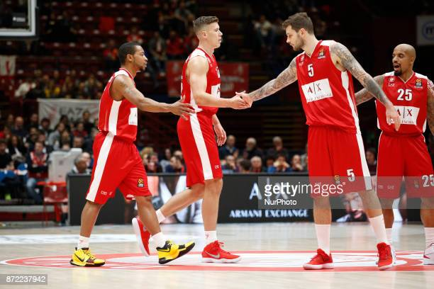 Vladimir Micov at dx and Kaleb Tarczewski celebrate during a game of Turkish Airlines EuroLeague basketball between AX Armani Exchange Milan vs...