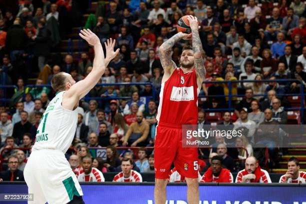 Vladimir Micov shoots a layup during a game of Turkish Airlines EuroLeague basketball between AX Armani Exchange Milan vs Zalgiris Kaunas at...
