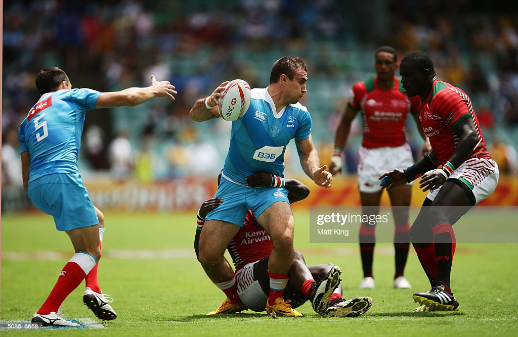 Vladimir Ostroushko of Russia is tackled during the 20146 Sydney Sevens match kenya and Russia at Allianz Stadium on February 6, 2016 in Sydney, Australia.