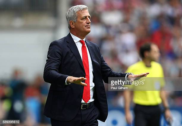 Vladimir Petkovic head coach of Switzerland gestures during the UEFA EURO 2016 Group A match between Albania and Switzerland at Stade BollaertDelelis...