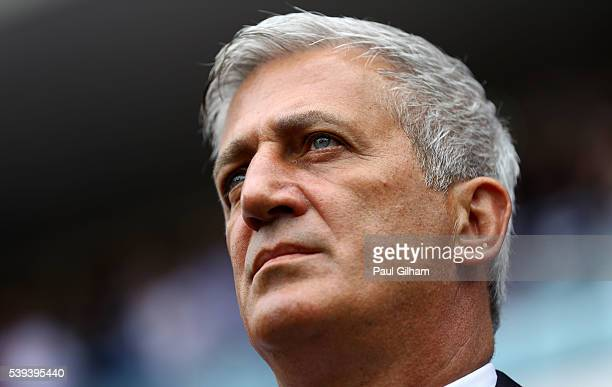 Vladimir Petkovic head coach of Switzerland looks on prior to the UEFA EURO 2016 Group A match between Albania and Switzerland at Stade...