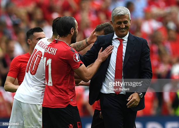 Vladimir Petkovic head coach of Switzerland talks to players after the UEFA EURO 2016 Group A match between Albania and Switzerland at Stade...