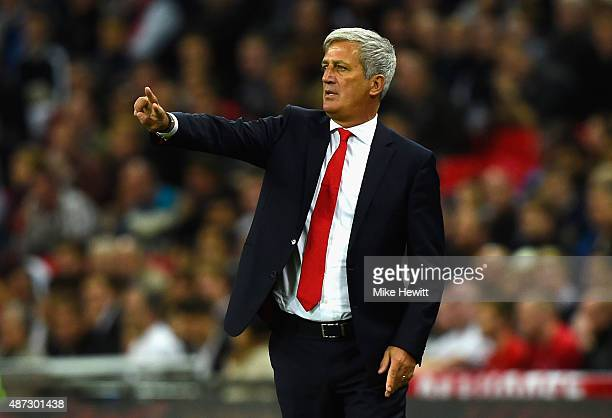 Vladimir Petkovic manager of Switzerland gives direction during the UEFA EURO 2016 Group E qualifying match between England and Switzerland at...