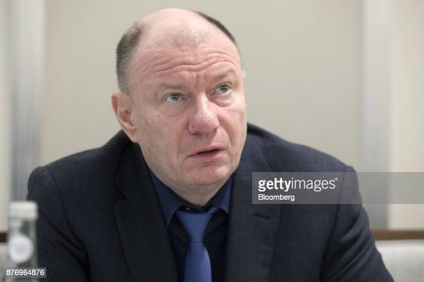 Vladimir Potanin billionaire and owner of OAO GMK Norilsk Nickel speaks during an interview in London UK on Monday Nov 20 2017 Potanin is within a...