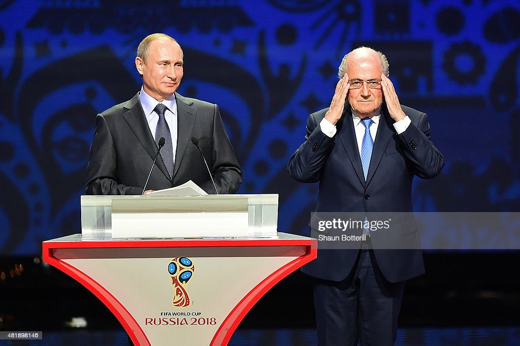 Vladimir Putin, President of Russia and FIFA President Joseph S. Blatter speak during the Preliminary Draw of the 2018 FIFA World Cup in Russia at The Konstantin Palace on July 25, 2015 in Saint Petersburg, Russia.