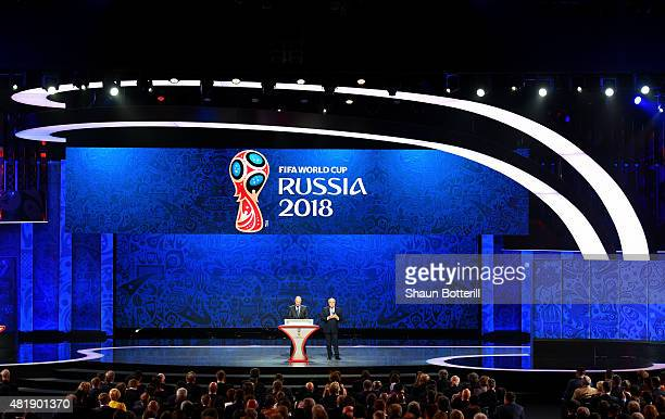 Vladimir Putin President of Russia and FIFA President Joseph S Blatter speak during the Preliminary Draw of the 2018 FIFA World Cup in Russia at The...