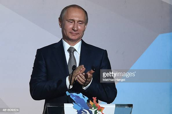 Vladimir Putin President of Russia applauds during the Opening Ceremony of the 16th FINA World Championships at TatNeft Arena on July 24 2015 in...