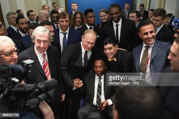 Vladimir Putin President of Russia meets Gordon Banks Maradonna Pele and Fabio Cannavaro prior to the Final Draw for the 2018 FIFA World Cup Russia...