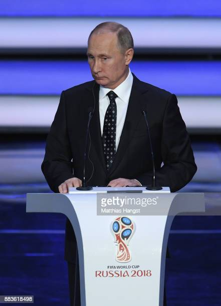 Vladimir Putin President of Russia speaks during the Final Draw for the 2018 FIFA World Cup Russia at the State Kremlin Palace on December 1 2017 in...