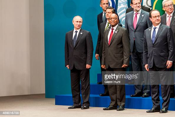 Vladimir Putin President of the Russian Federation Jacob Zuma President of the Republic of South Africa and Francois Hollande President of the French...