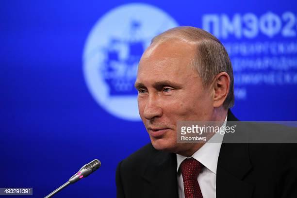 Vladimir Putin Russia's president speaks during a global business leaders summit at the St Petersburg International Economic Forum in Saint...
