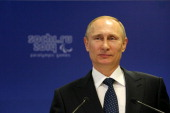 Vladimir Putin the President of Russia speaks to the IPC Governing Board prior to the Opening Ceremony of the Sochi 2014 Paralympic Winter Games at...