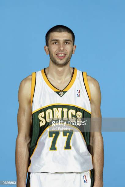 Vladimir Radmanovic of the Seattle Sonics poses during the NBA Media Day at the Furtado Center on September 29 2003 in Seattle Washington NOTE TO...