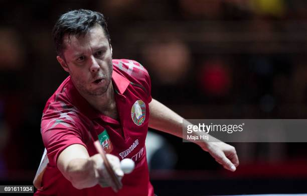 Vladimir Samsonov of Belarus competes during Men's Singles quarterfinals at Table Tennis World Championship at Messe Duesseldorf on June 2 2017 in...