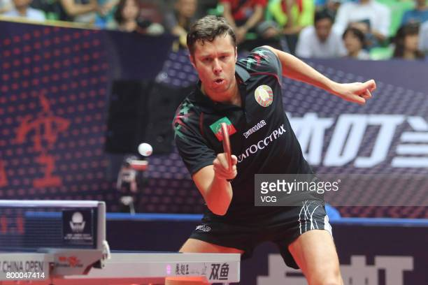 Vladimir Samsonov of Belarus competes during the men's singles first round match against Tomokazu Harimoto of Japan on the day one of the 2017 ITTF...