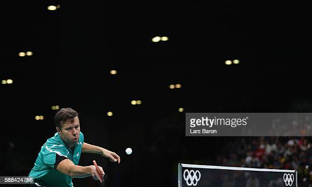 Vladimir Samsonov of Belarus competes during the Mens Table Tennis Singles Semifinal match between Vladimir Samsonov of Belarus and Zhang Jik of...