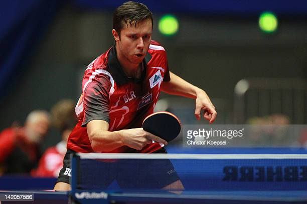 Vladimir Samsonov of Belarus plays a backhand during his match against Pang Xue Jie of Singapore during the LIEBHERR table tennis team world cup 2012...
